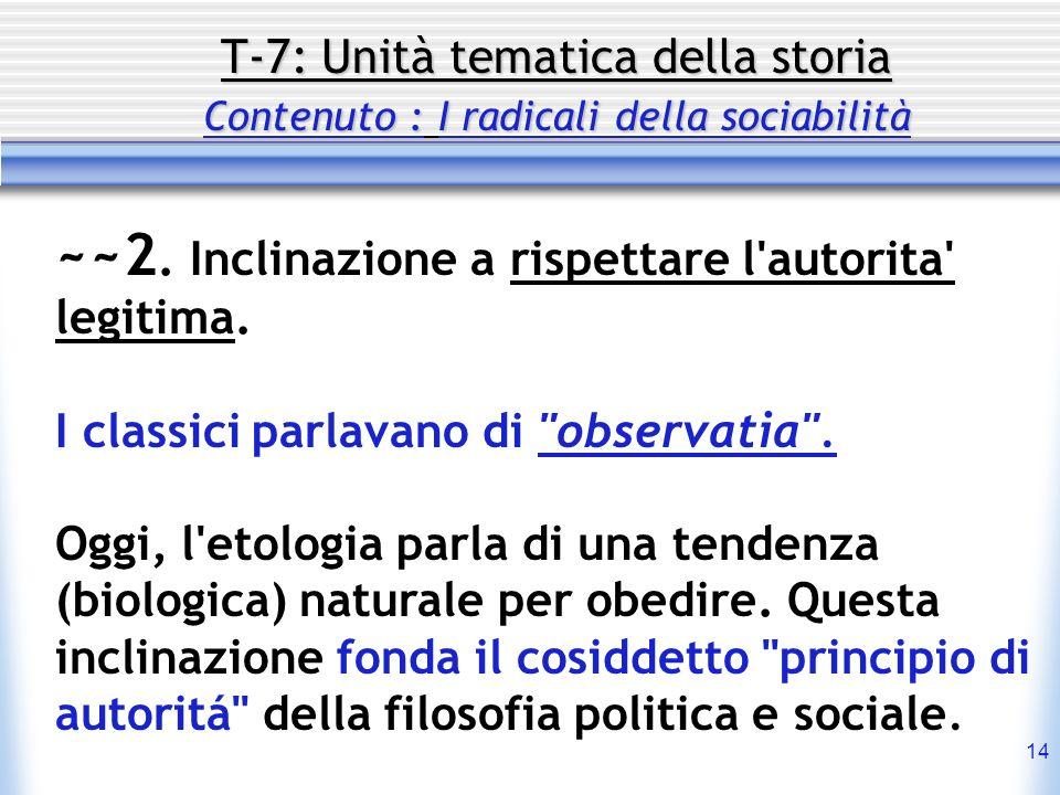 14 T-7: Unità tematica della storia Contenuto : I radicali della sociabilità ~~2. Inclinazione a rispettare l'autorita' legitima. I classici parlavano