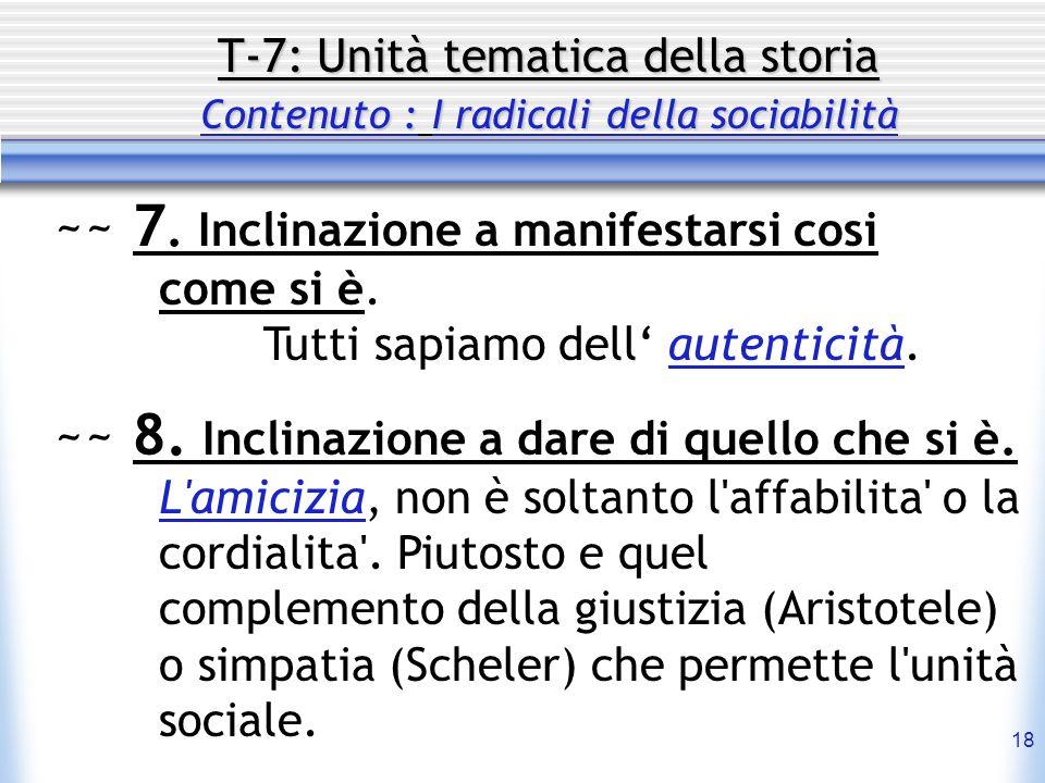 18 T-7: Unità tematica della storia Contenuto : I radicali della sociabilità ~~ 7. Inclinazione a manifestarsi cosi come si è. Tutti sapiamo dell aute