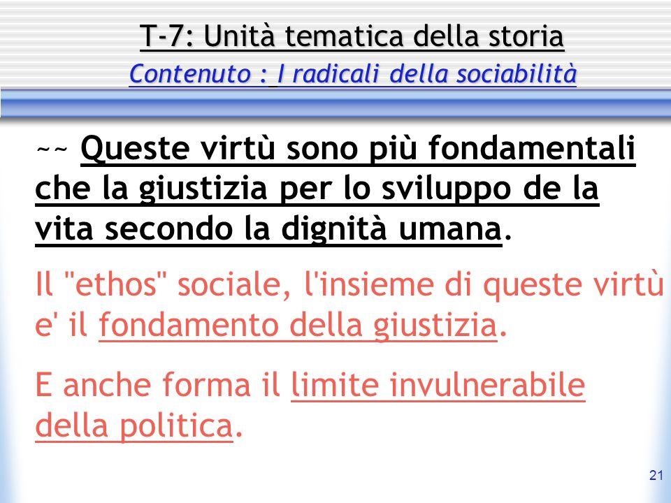 21 T-7: Unità tematica della storia Contenuto : I radicali della sociabilità ~~ Queste virtù sono più fondamentali che la giustizia per lo sviluppo de