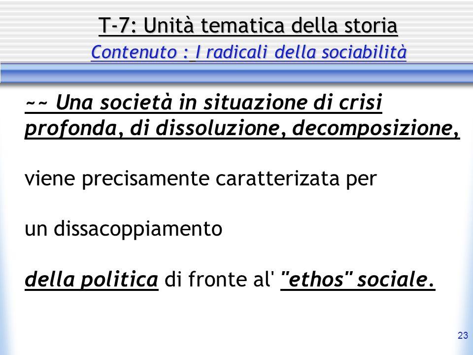 23 T-7: Unità tematica della storia Contenuto : I radicali della sociabilità ~~ Una società in situazione di crisi profonda, di dissoluzione, decompos