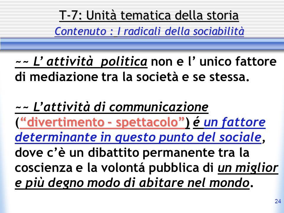 24 T-7: Unità tematica della storia Contenuto : I radicali della sociabilità ~~ L attività politica non e l unico fattore di mediazione tra la società