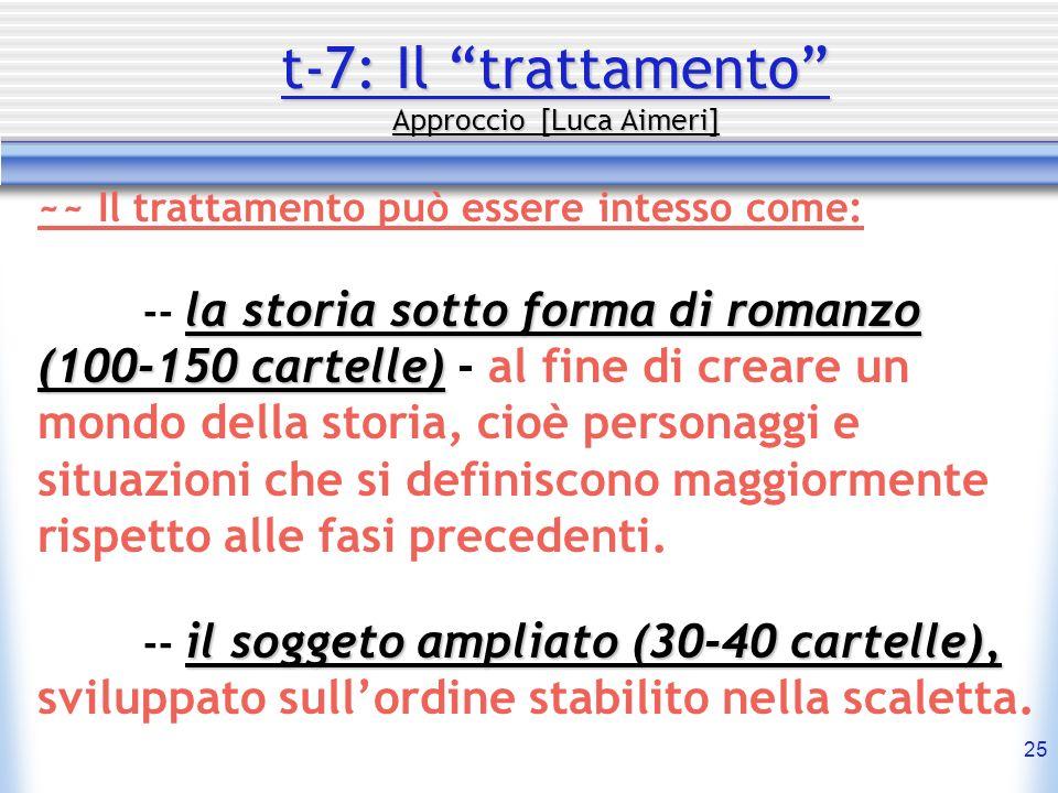 25 t-7: Il trattamento Approccio [Luca Aimeri] ~~ Il trattamento può essere intesso come: la storia sotto forma di romanzo (100-150 cartelle) -- la st
