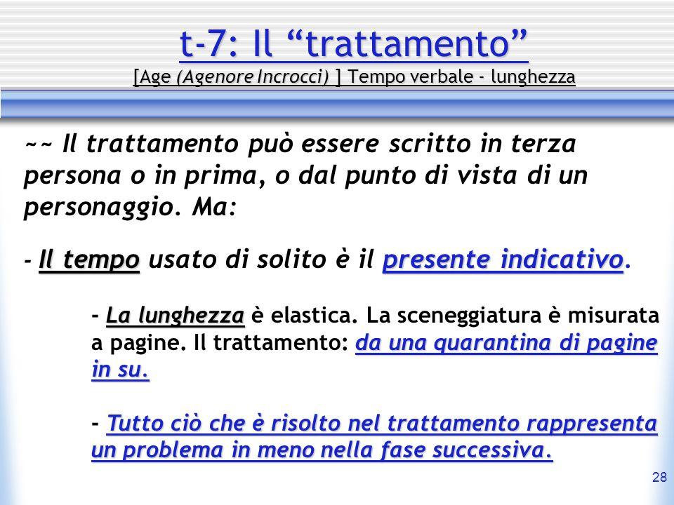 28 t-7: Il trattamento [Age (Agenore Incrocci) ] Tempo verbale - lunghezza ~~ Il trattamento può essere scritto in terza persona o in prima, o dal pun