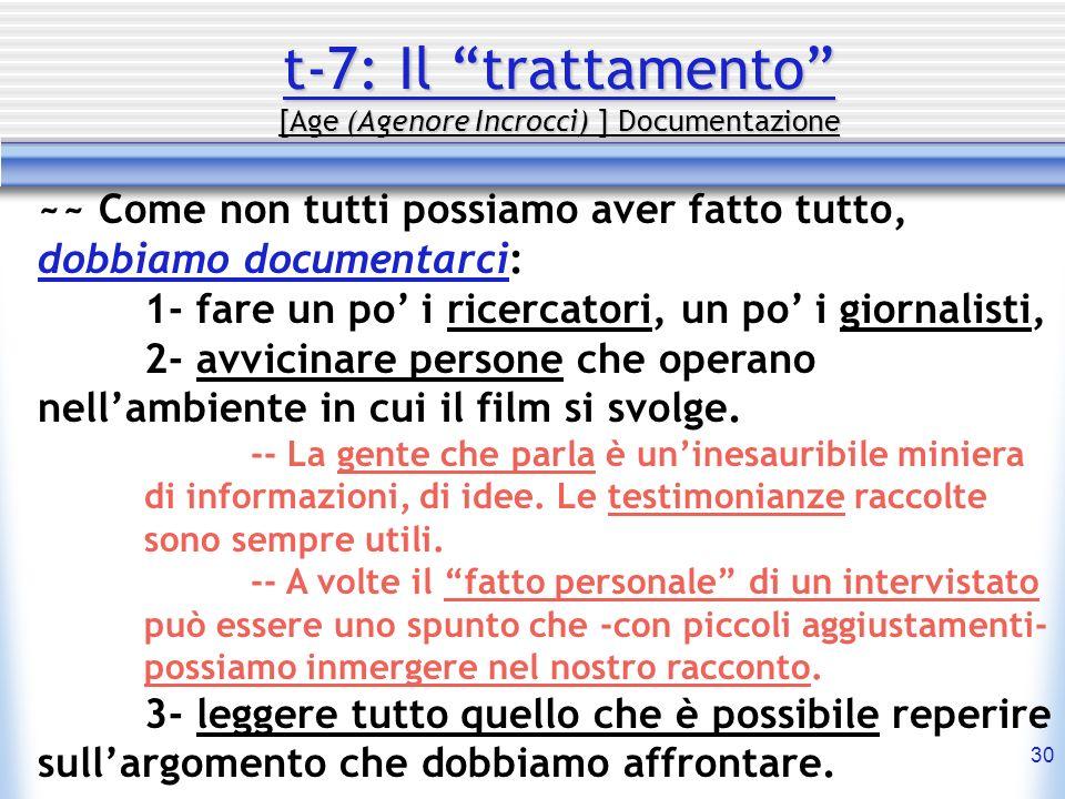 30 t-7: Il trattamento [Age (Agenore Incrocci) ] Documentazione ~~ Come non tutti possiamo aver fatto tutto, dobbiamo documentarci: 1- fare un po i ri