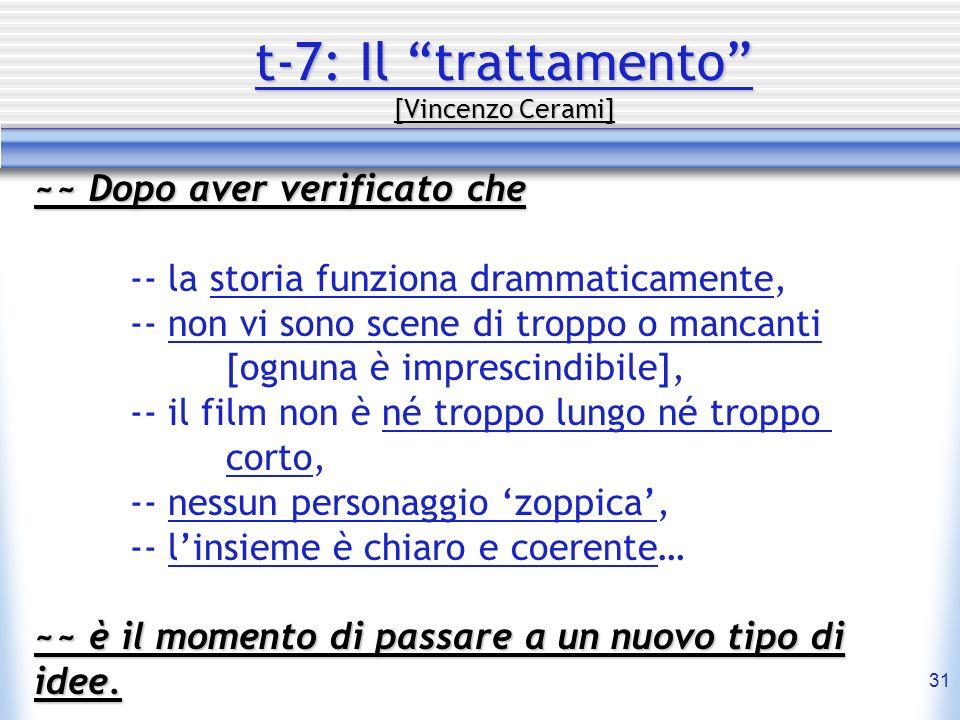 31 t-7: Il trattamento [Vincenzo Cerami] ~~ Dopo aver verificato che -- la storia funziona drammaticamente, -- non vi sono scene di troppo o mancanti