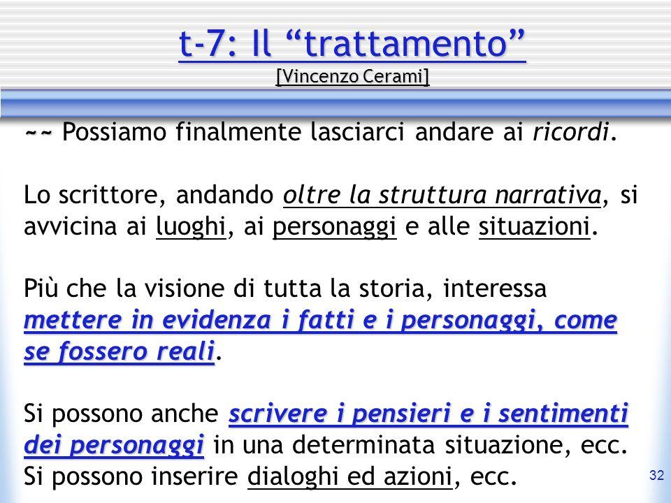 32 t-7: Il trattamento [Vincenzo Cerami] ~~ ~~ Possiamo finalmente lasciarci andare ai ricordi. Lo scrittore, andando oltre la struttura narrativa, si