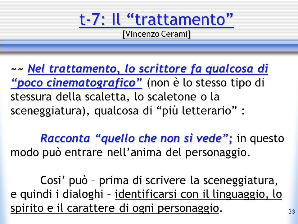 33 t-7: Il trattamento [Vincenzo Cerami] ~~ Nel trattamento, lo scrittore fa qualcosa di poco cinematografico ~~ Nel trattamento, lo scrittore fa qual