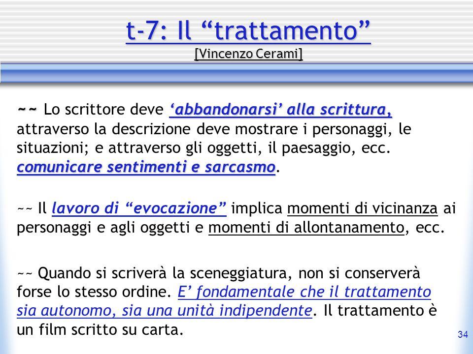 34 t-7: Il trattamento [Vincenzo Cerami] ~~ abbandonarsi alla scrittura, comunicare sentimenti e sarcasmo ~~ Lo scrittore deve abbandonarsi alla scrit