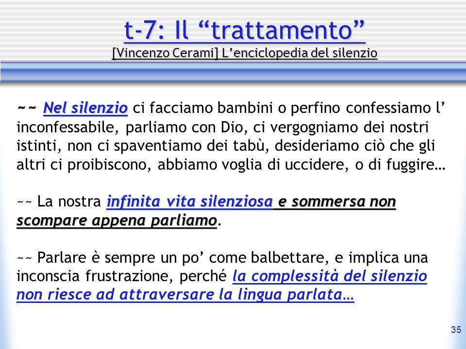35 t-7: Il trattamento [Vincenzo Cerami] Lenciclopedia del silenzio ~~ Nel silenzio ~~ Nel silenzio ci facciamo bambini o perfino confessiamo l inconf