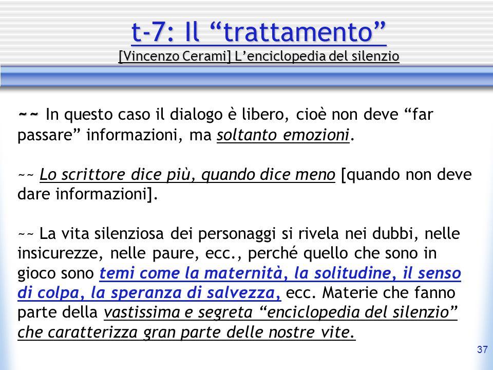 37 t-7: Il trattamento [Vincenzo Cerami] Lenciclopedia del silenzio ~~ ~~ In questo caso il dialogo è libero, cioè non deve far passare informazioni,