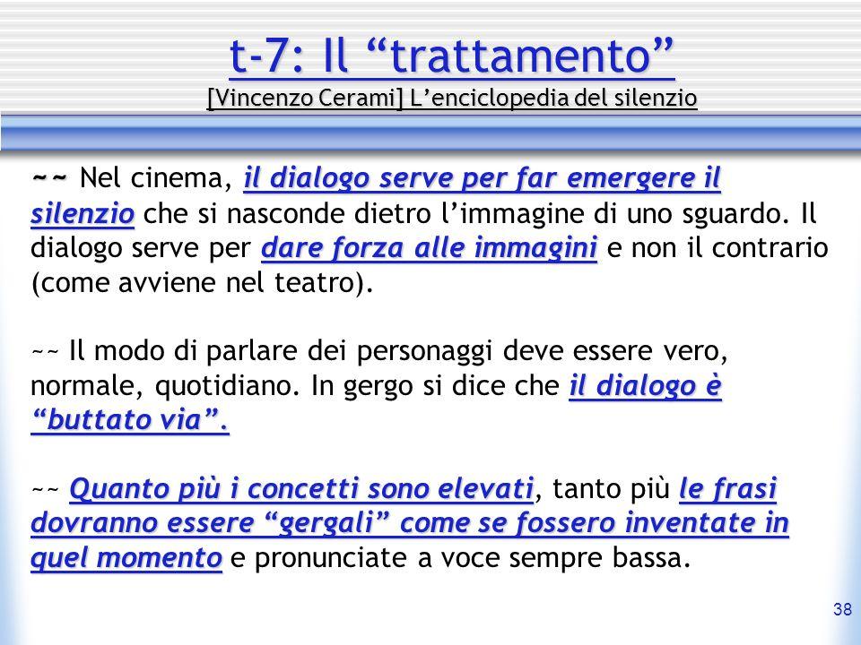 38 t-7: Il trattamento [Vincenzo Cerami] Lenciclopedia del silenzio ~~ il dialogo serve per far emergere il silenzio dare forza alle immagini ~~ Nel c
