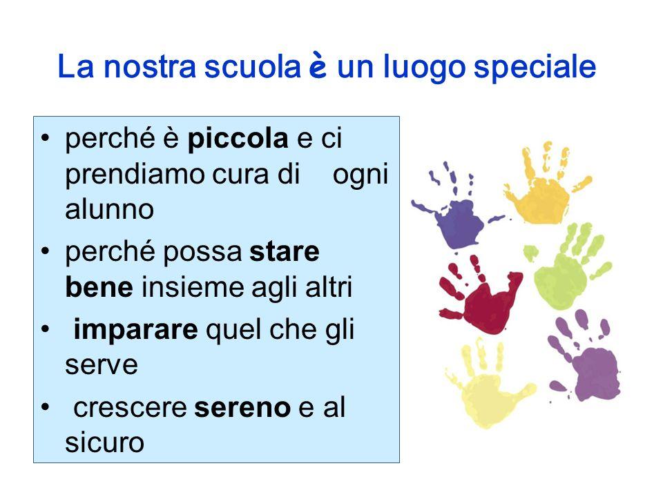 La nostra scuola è un luogo speciale perché è piccola e ci prendiamo cura di ogni alunno perché possa stare bene insieme agli altri imparare quel che