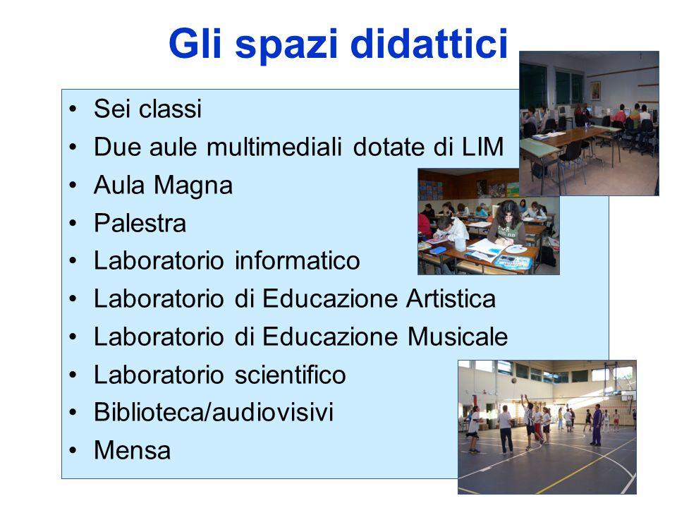 Gli spazi didattici Sei classi Due aule multimediali dotate di LIM Aula Magna Palestra Laboratorio informatico Laboratorio di Educazione Artistica Lab
