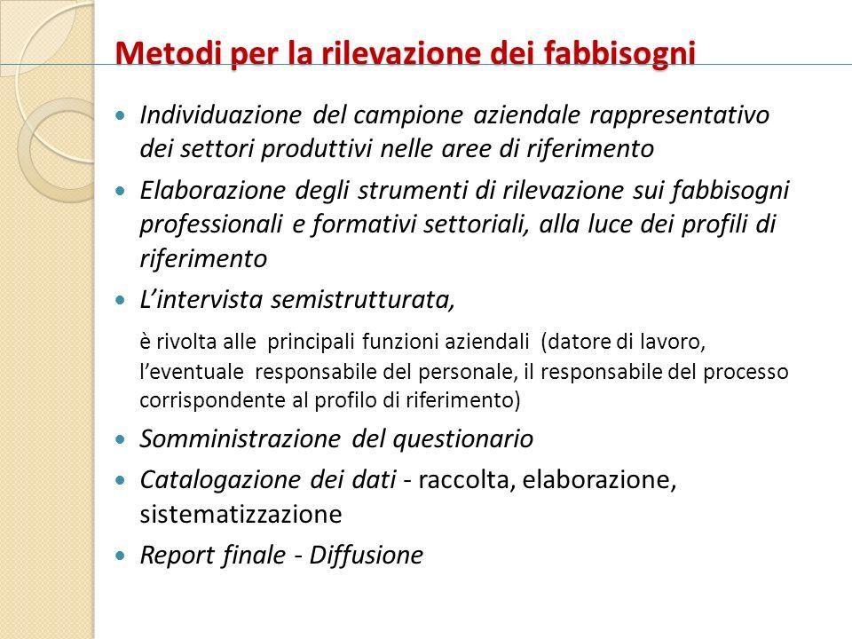 Metodi per la rilevazione dei fabbisogni Individuazione del campione aziendale rappresentativo dei settori produttivi nelle aree di riferimento Elabor