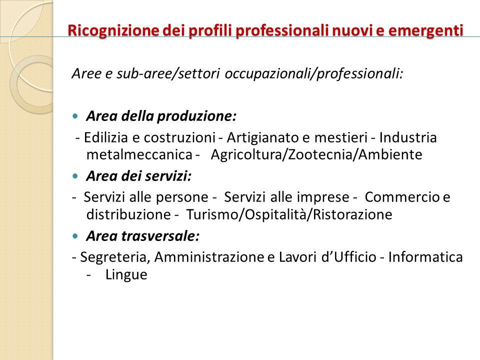 Ricognizione dei profili professionali nuovi e emergenti Aree e sub-aree/settori occupazionali/professionali: Area della produzione: - Edilizia e cost