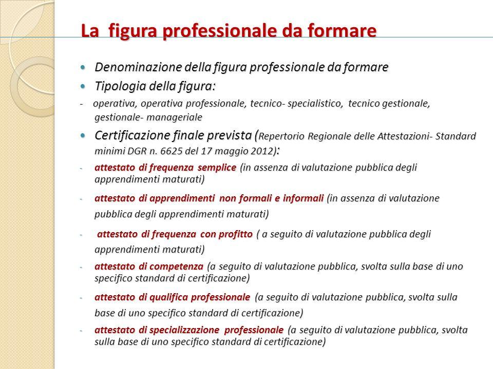 La figura professionale da formare Denominazione della figura professionale da formare Denominazione della figura professionale da formare Tipologia d