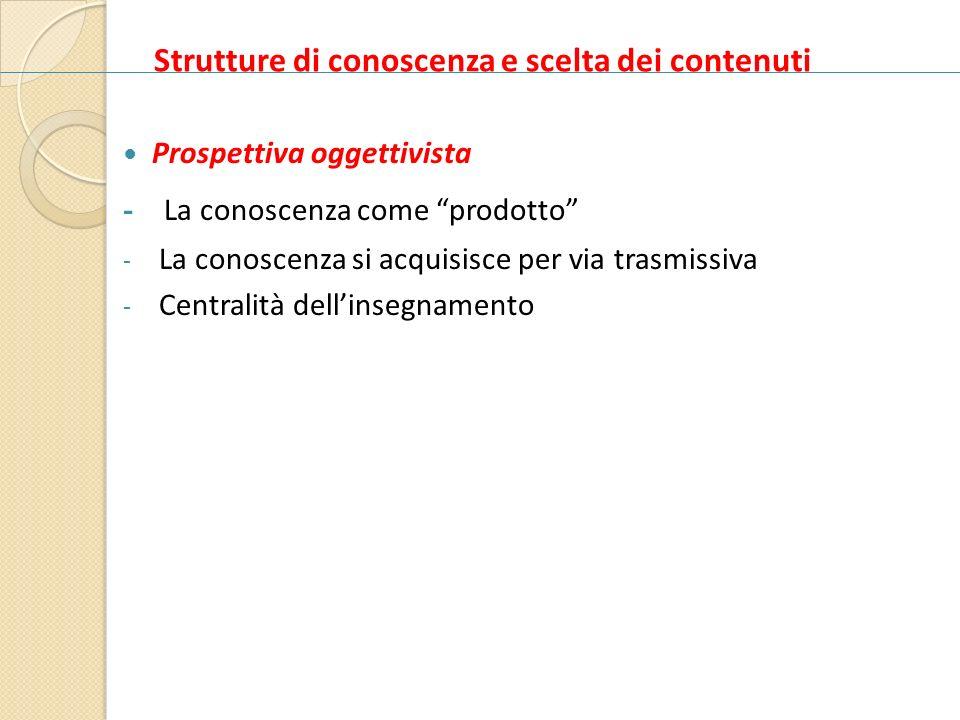 Strutture di conoscenza e scelta dei contenuti Prospettiva oggettivista - La conoscenza come prodotto - La conoscenza si acquisisce per via trasmissiv