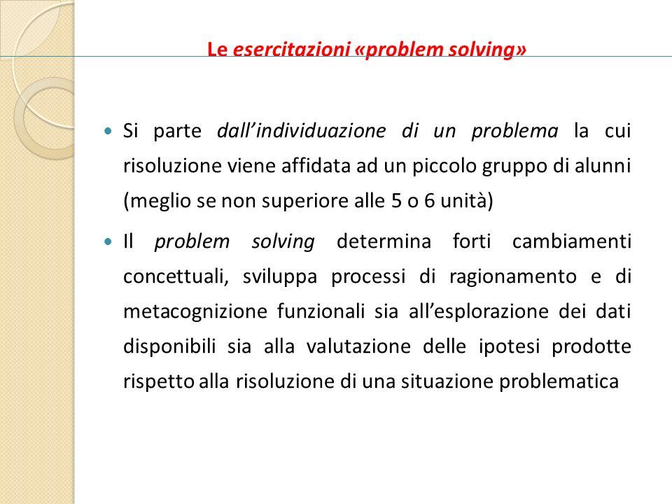 Le esercitazioni «problem solving» Si parte dallindividuazione di un problema la cui risoluzione viene affidata ad un piccolo gruppo di alunni (meglio