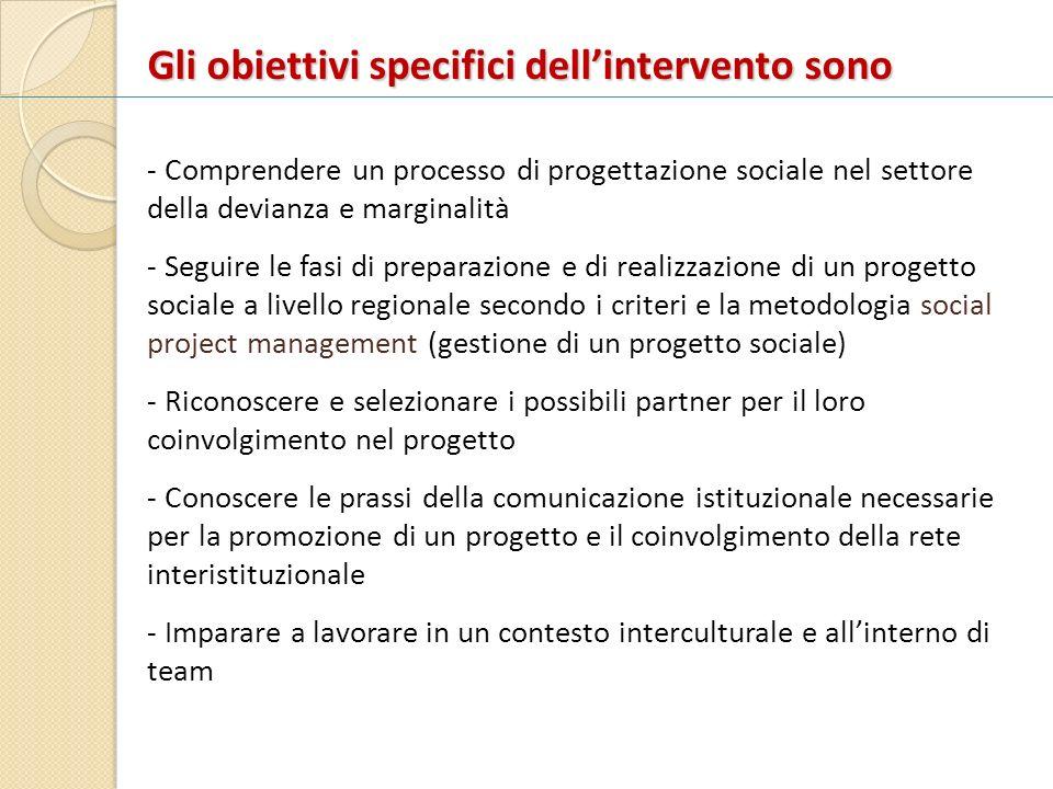 Gli obiettivi specifici dellintervento sono - Comprendere un processo di progettazione sociale nel settore della devianza e marginalità - Seguire le f