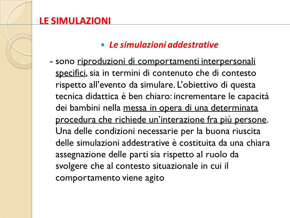 LE SIMULAZIONI Le simulazioni addestrative - sono riproduzioni di comportamenti interpersonali specifici, sia in termini di contenuto che di contesto