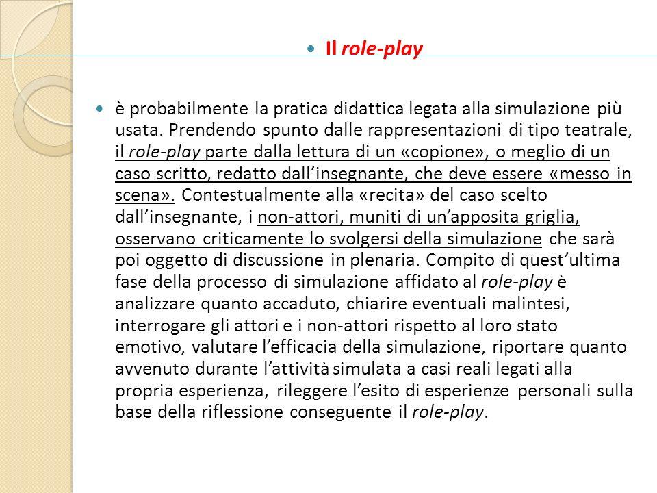 Il role-play è probabilmente la pratica didattica legata alla simulazione più usata. Prendendo spunto dalle rappresentazioni di tipo teatrale, il role