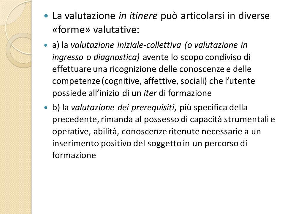 La valutazione in itinere può articolarsi in diverse «forme» valutative: a) la valutazione iniziale-collettiva (o valutazione in ingresso o diagnostic