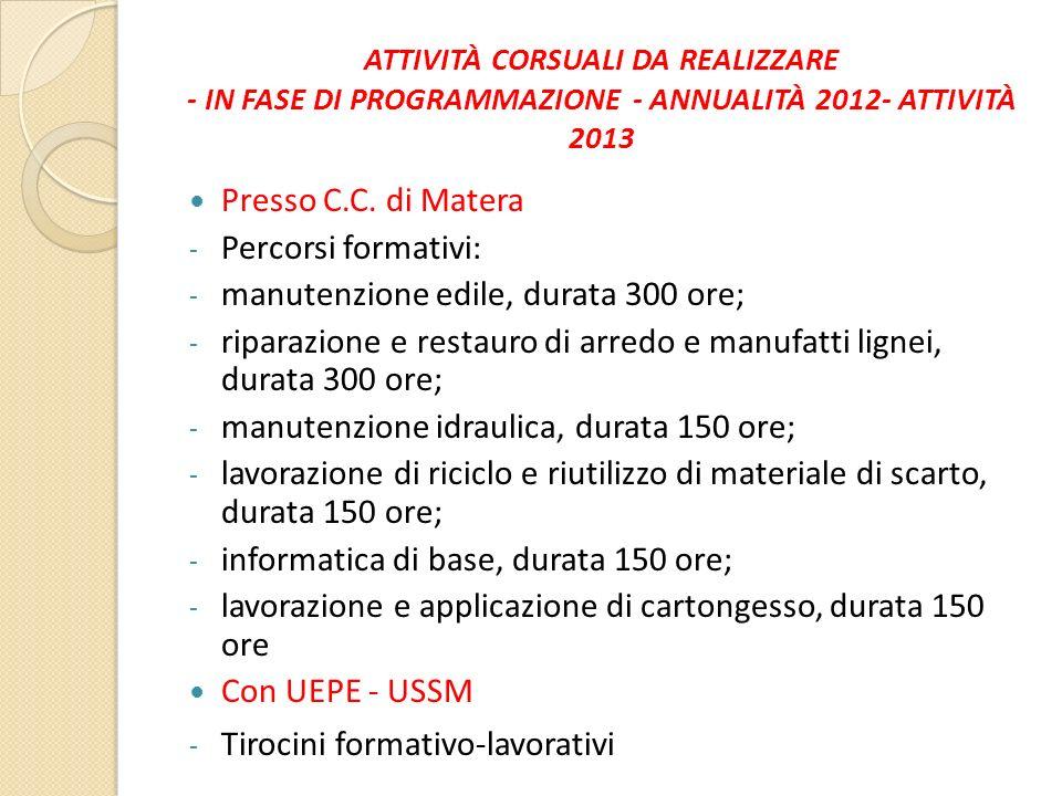 ATTIVITÀ CORSUALI DA REALIZZARE - IN FASE DI PROGRAMMAZIONE - ANNUALITÀ 2012- ATTIVITÀ 2013 Presso C.C. di Matera - Percorsi formativi: - manutenzione
