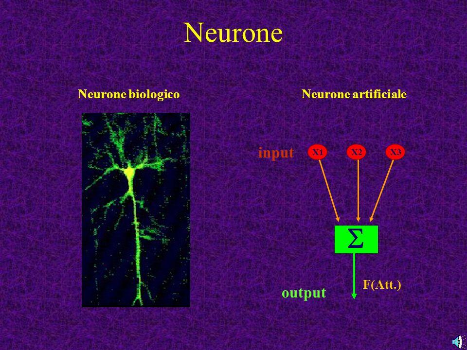 Neurone Neurone biologicoNeurone artificiale X1X2X3 F(Att.) output input