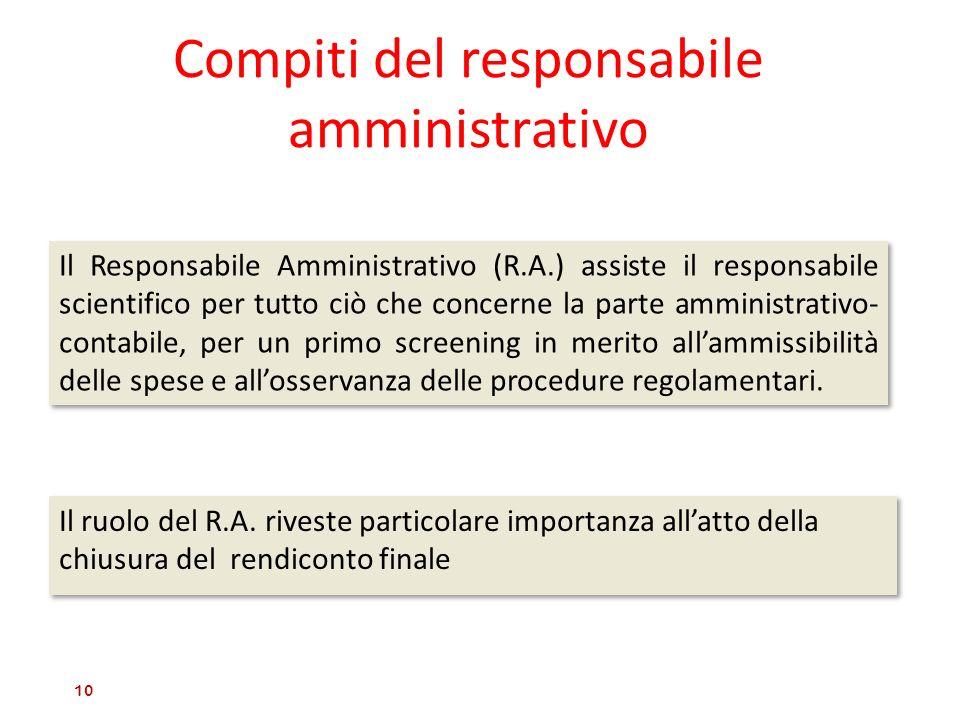 Compiti del responsabile amministrativo Il ruolo del R.A. riveste particolare importanza allatto della chiusura del rendiconto finale 10 Il Responsabi