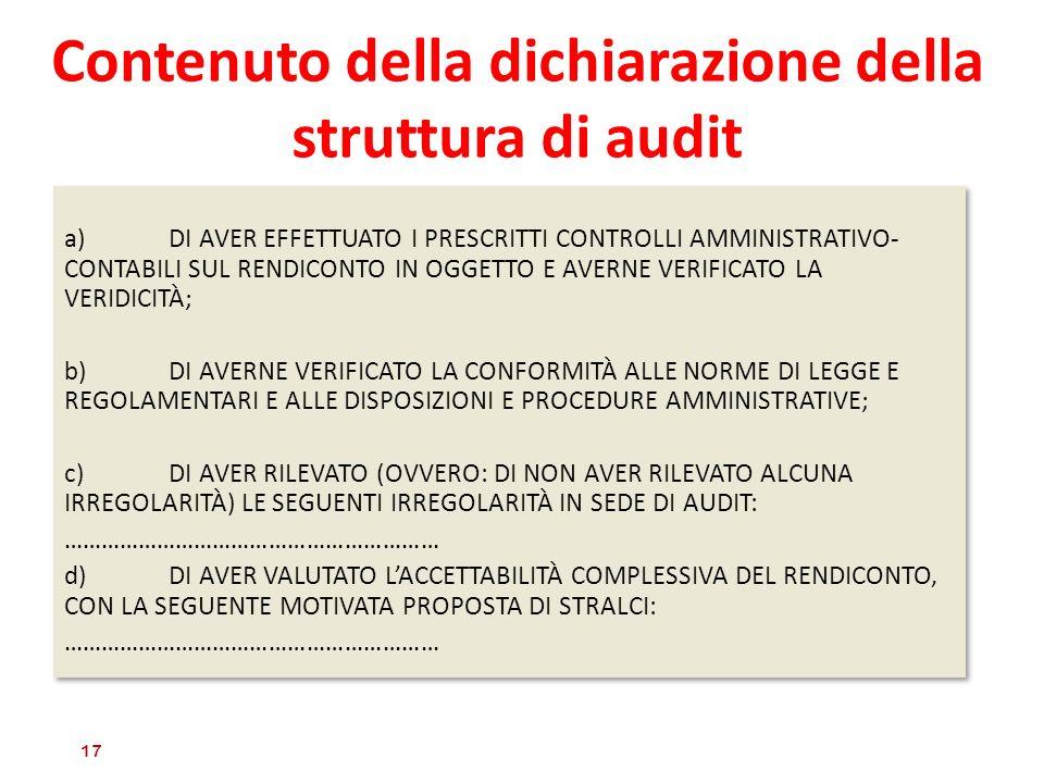 Contenuto della dichiarazione della struttura di audit a)DI AVER EFFETTUATO I PRESCRITTI CONTROLLI AMMINISTRATIVO- CONTABILI SUL RENDICONTO IN OGGETTO