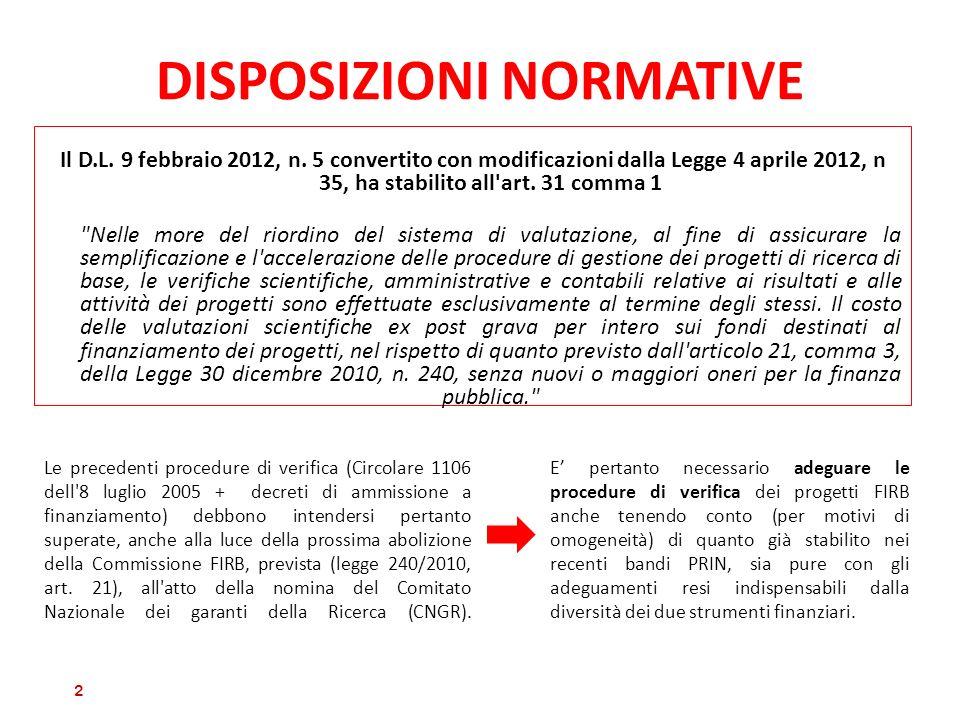 DISPOSIZIONI NORMATIVE Il D.L. 9 febbraio 2012, n. 5 convertito con modificazioni dalla Legge 4 aprile 2012, n 35, ha stabilito all'art. 31 comma 1