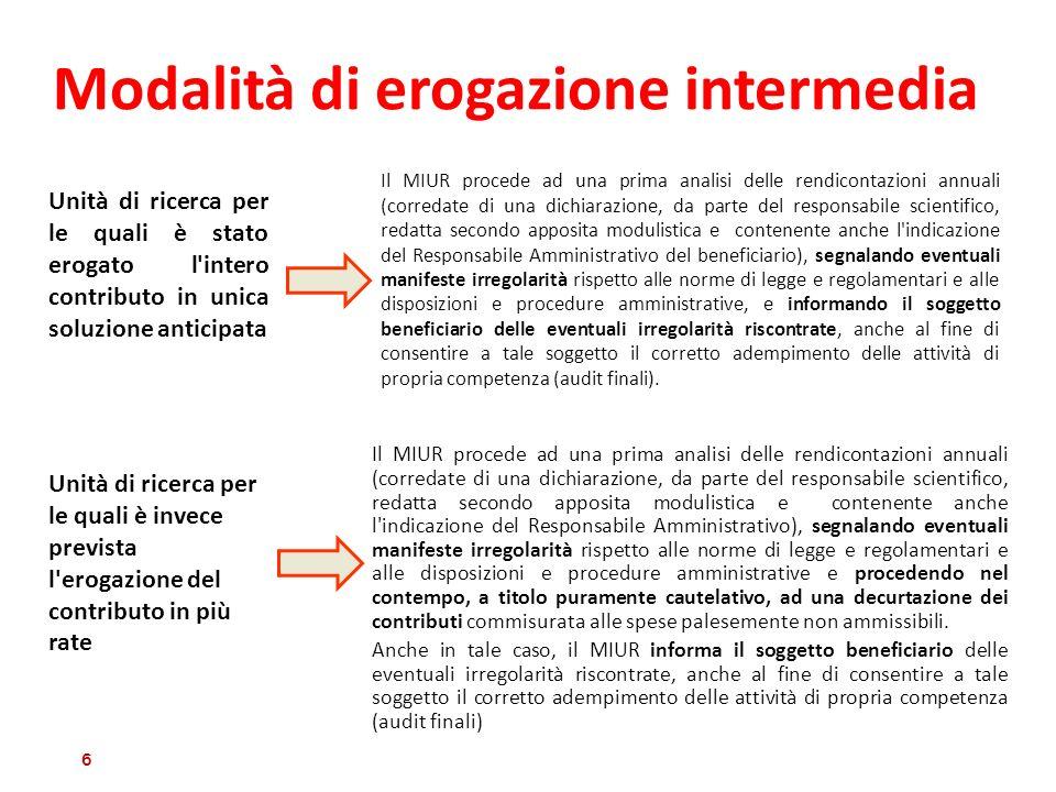 Modalità di erogazione intermedia Il MIUR procede ad una prima analisi delle rendicontazioni annuali (corredate di una dichiarazione, da parte del res