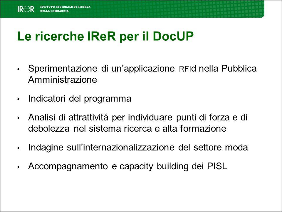 3 INDICATORI DEL PROGRAMMA Analisi e sviluppo di indicatori di impatto relativi al Documento Unico di Programmazione 2000-2006 (Cod.