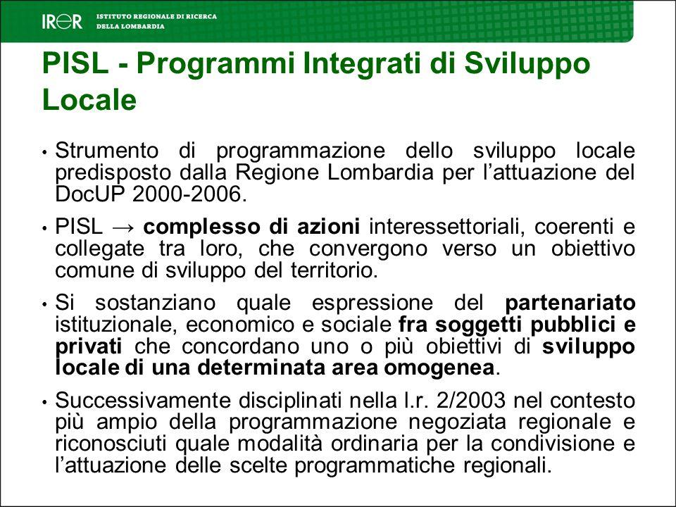 PISL - Programmi Integrati di Sviluppo Locale Strumento di programmazione dello sviluppo locale predisposto dalla Regione Lombardia per lattuazione del DocUP 2000-2006.