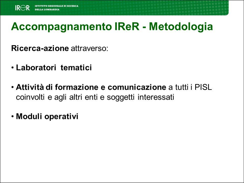 Accompagnamento IReR - Metodologia Ricerca-azione attraverso: Laboratori tematici Attività di formazione e comunicazione a tutti i PISL coinvolti e agli altri enti e soggetti interessati Moduli operativi