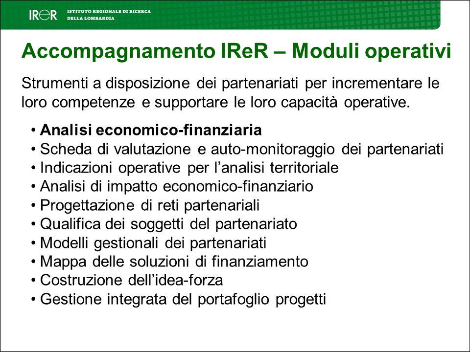 Accompagnamento IReR – Moduli operativi Strumenti a disposizione dei partenariati per incrementare le loro competenze e supportare le loro capacità operative.
