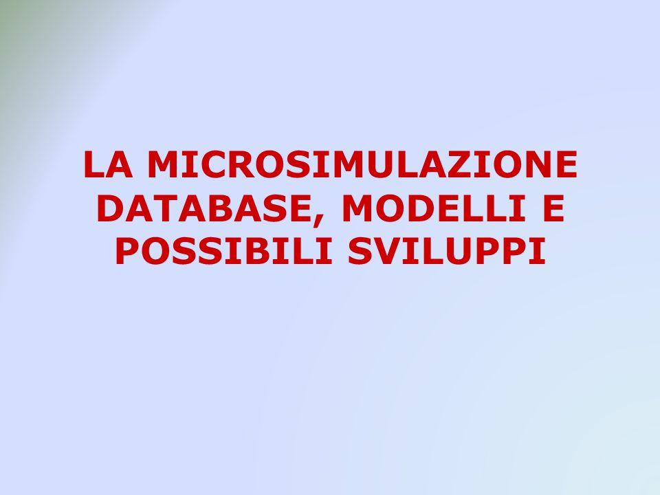 LA MICROSIMULAZIONE DATABASE, MODELLI E POSSIBILI SVILUPPI