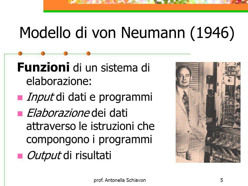 prof. Antonella Schiavon5 Funzioni di un sistema di elaborazione: Input di dati e programmi Elaborazione dei dati attraverso le istruzioni che compong
