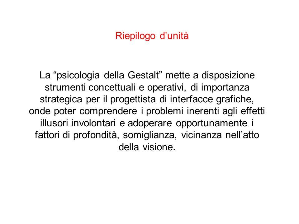 Riepilogo dunità La psicologia della Gestalt mette a disposizione strumenti concettuali e operativi, di importanza strategica per il progettista di in