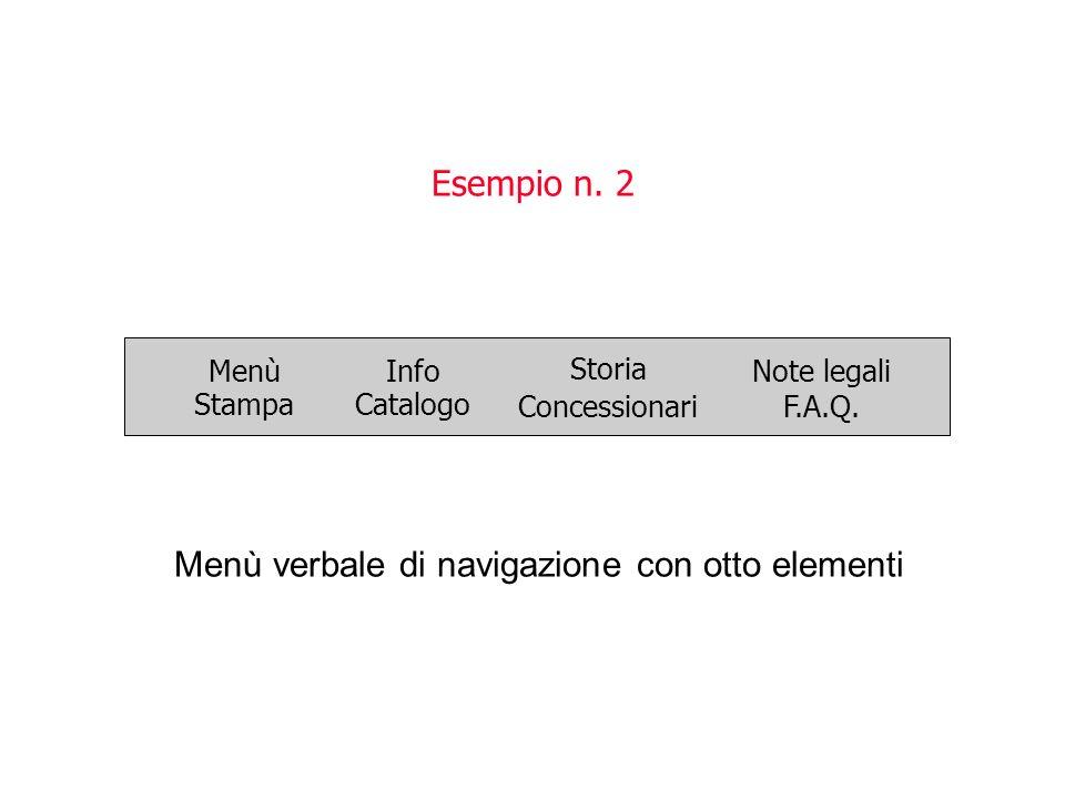 Esempio n. 2 Menù verbale di navigazione con otto elementi Menù Stampa Info Catalogo Storia ConcessionariF.A.Q. Note legali