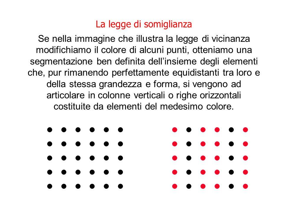 La legge di somiglianza Se nella immagine che illustra la legge di vicinanza modifichiamo il colore di alcuni punti, otteniamo una segmentazione ben d