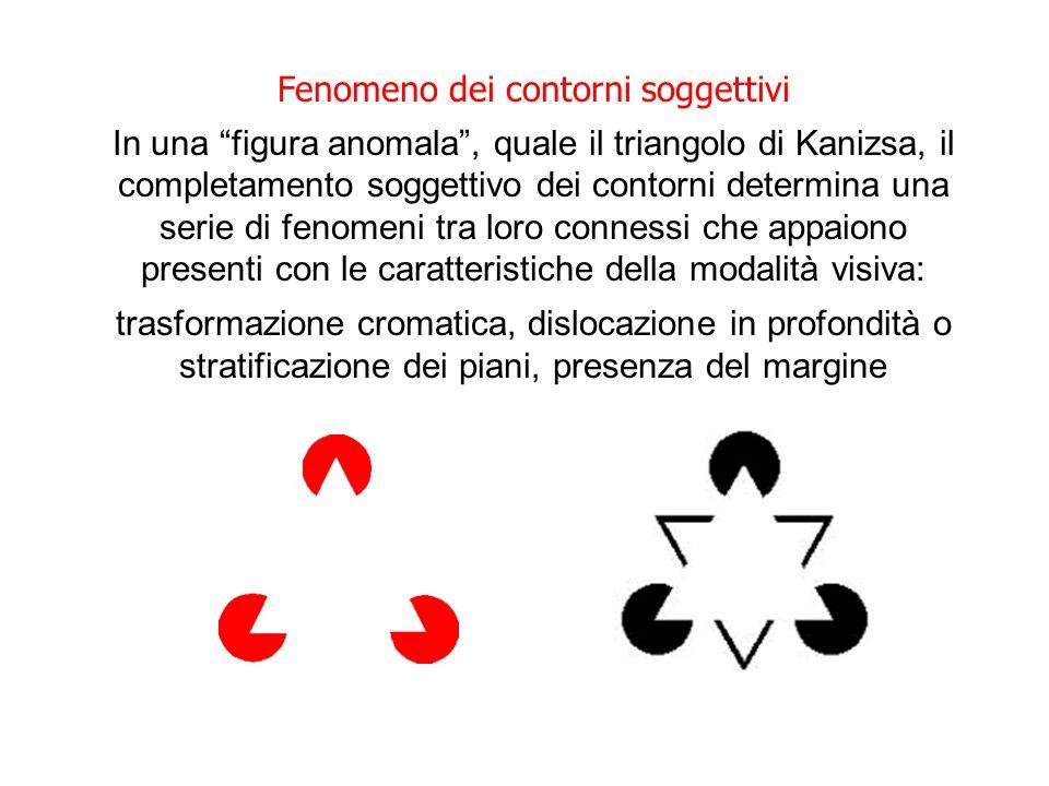 Fenomeno dei contorni soggettivi In una figura anomala, quale il triangolo di Kanizsa, il completamento soggettivo dei contorni determina una serie di