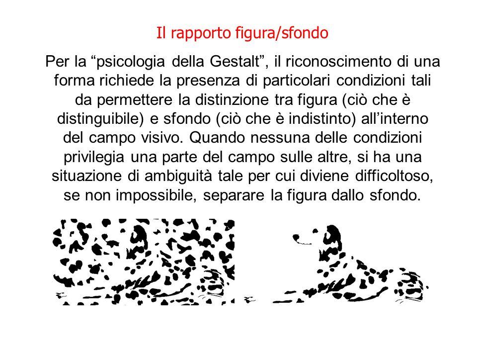 Il rapporto figura/sfondo Per la psicologia della Gestalt, il riconoscimento di una forma richiede la presenza di particolari condizioni tali da perme