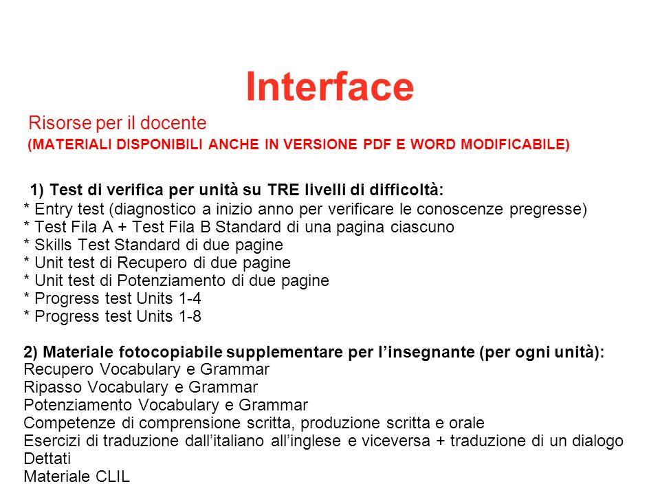 Interface Risorse per il docente (MATERIALI DISPONIBILI ANCHE IN VERSIONE PDF E WORD MODIFICABILE) 1) Test di verifica per unità su TRE livelli di dif