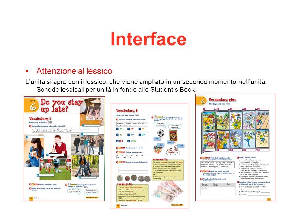 Interface Attenzione al lessico Lunità si apre con il lessico, che viene ampliato in un secondo momento nellunità. Schede lessicali per unità in fondo