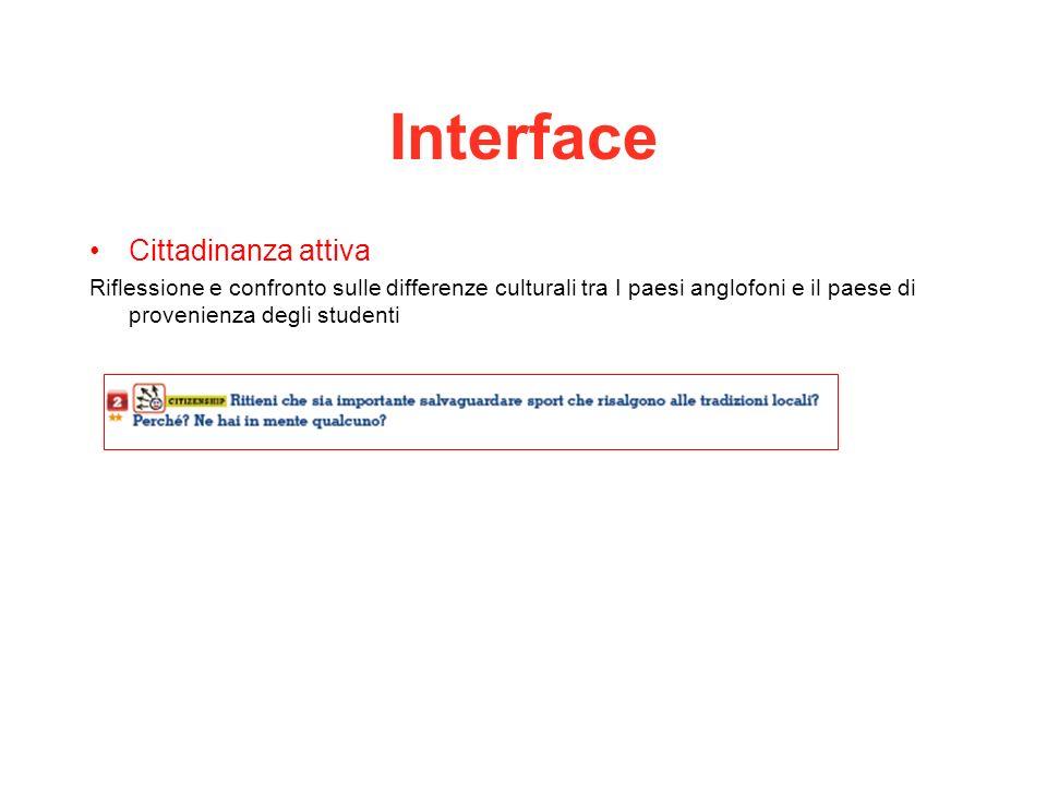 Interface Cittadinanza attiva Riflessione e confronto sulle differenze culturali tra I paesi anglofoni e il paese di provenienza degli studenti