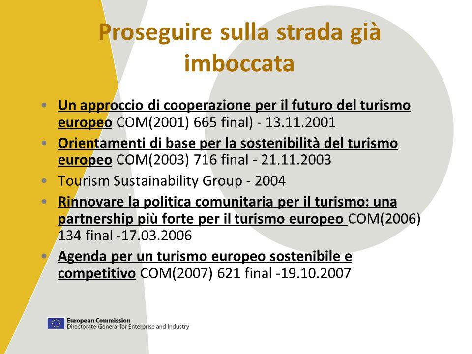 Un approccio di cooperazione per il futuro del turismo europeo COM(2001) 665 final) - 13.11.2001 Orientamenti di base per la sostenibilità del turismo