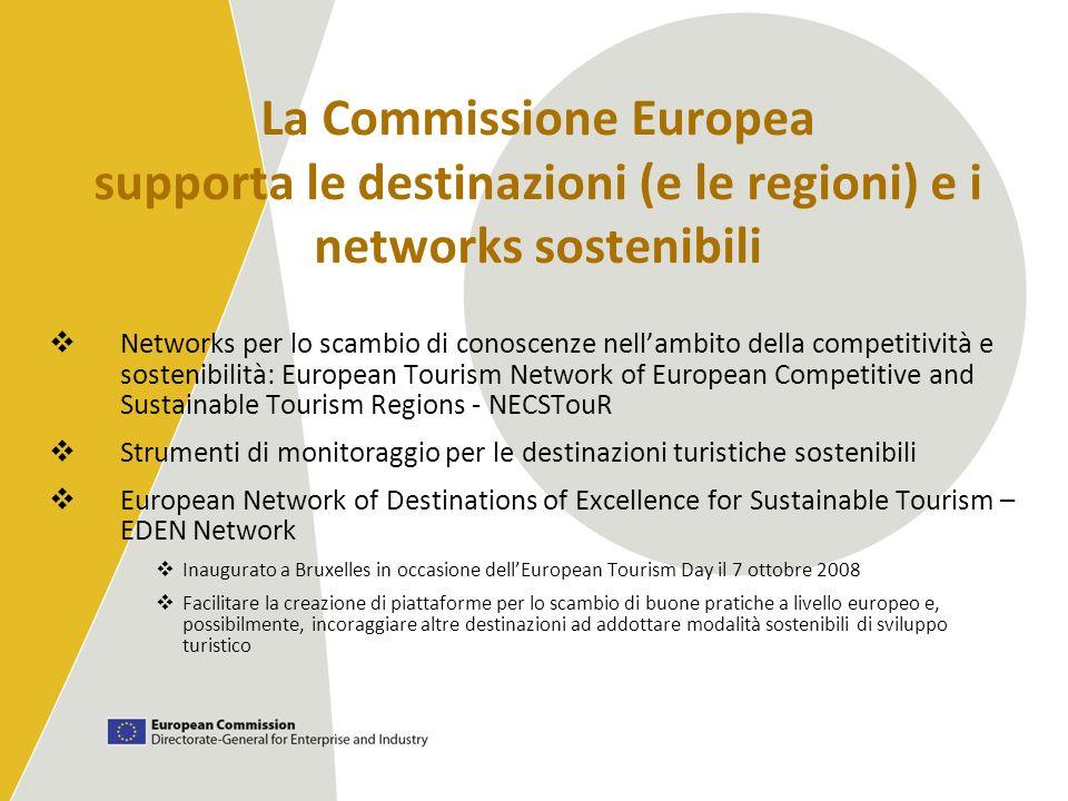 La Commissione Europea supporta le destinazioni (e le regioni) e i networks sostenibili Networks per lo scambio di conoscenze nellambito della competi