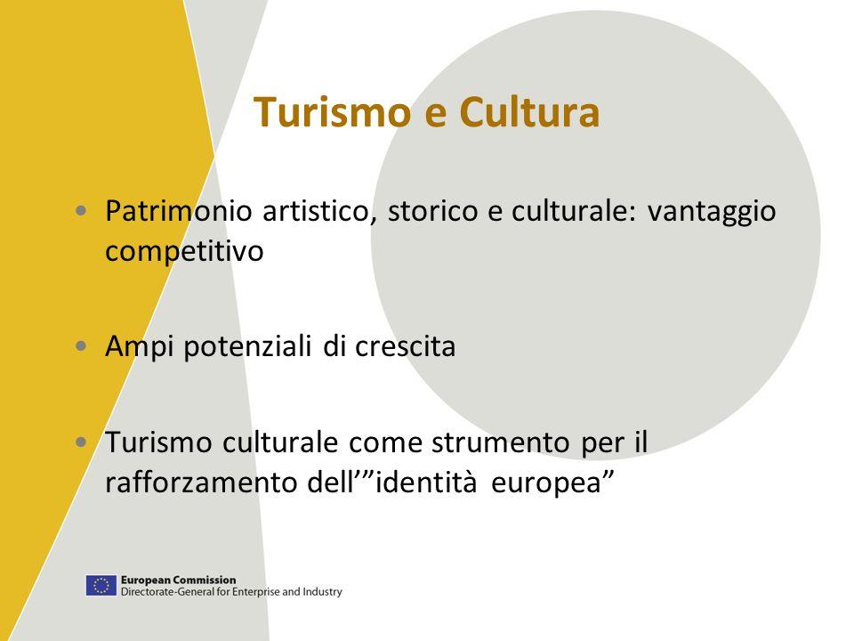 Turismo e Cultura Patrimonio artistico, storico e culturale: vantaggio competitivo Ampi potenziali di crescita Turismo culturale come strumento per il