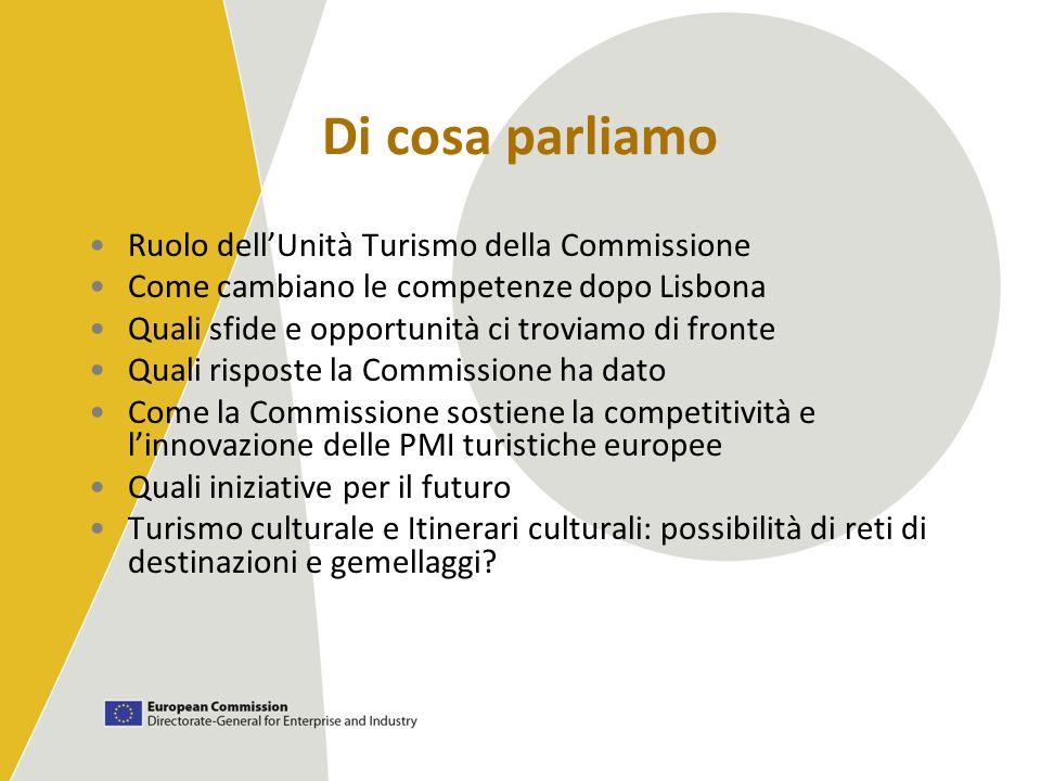 Di cosa parliamo Ruolo dellUnità Turismo della Commissione Come cambiano le competenze dopo Lisbona Quali sfide e opportunità ci troviamo di fronte Qu